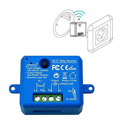 LoraTap Interruptor WiFi Inteligente Módulo de Interruptor Inalámbrico Temporizador Control Remoto por App iOS o Android, Compatible con Alexa Echo, Google Home e IFTTT, 10A/2500W