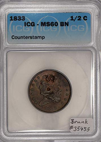 1833 P Classic Head Counterstamped S.M; ICG Certified Half Cent MS-60