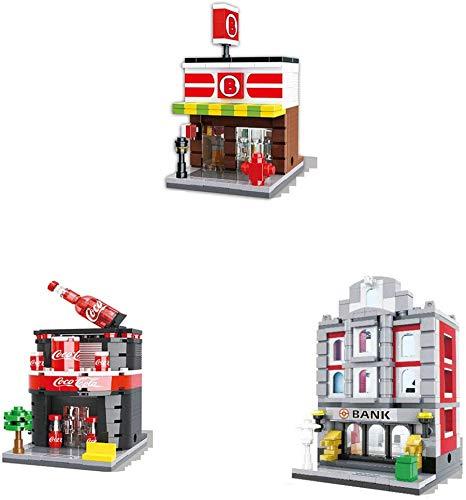 Mini City Street Series 3D Store Store Tienda Comida Bebida Café Teléfono Mini Tienda Bloques De Construcción Juguetes Educativos para Niños (Paquete De 3)