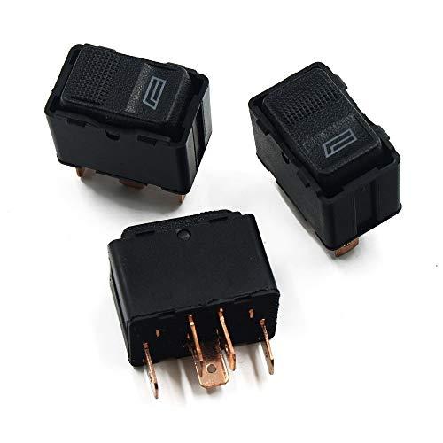 Perilla del botón del Interruptor Interruptor de ventanilla única electrónica/Ajuste for Audi A6 C4 V8 / Ajuste for Quattro 80 B3 B4 90 100 (3pcs) (Color : Black)