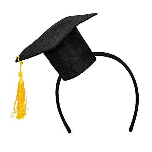 Boland 90610 - Haarreif Doktorhut, schwarz-gelb, Tiara mit Minihut, Studentenhut, Abschluss, Kopfbedeckung, Kostüm, Karneval, Mottoparty