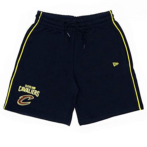 A NEW ERA NBA Stripe Piping Short Clecav Pantaloncini Corti, da Uomo, Uomo, Pantalone Corto, 11860090, Blu Scuro, XS