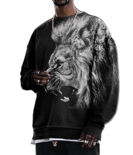 Camiseta con Estampado de Labios y lápiz Labial León para Hombre, suéter Elegante, Estampado Retro en 3D, Cuello Redondo, Camiseta de Manga Top con Mangas Larga