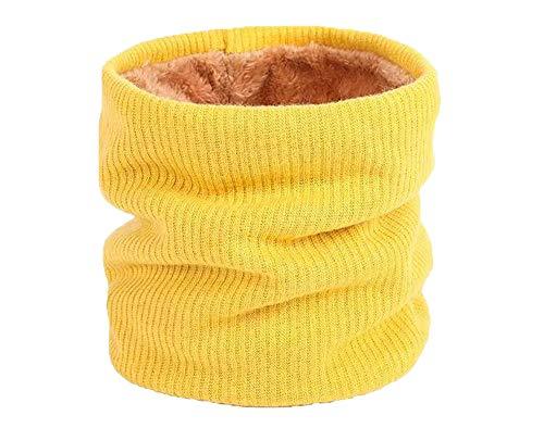 Scalda Collo Di Crochet Di Maglia Per Invernali Con Agnello Dentro Sciarpe Morbido e Caldo Unisex Per Donne E Uomo (Giallo)