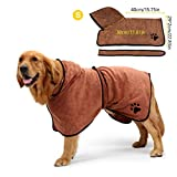 Aoweika Dog Bathrobe Towel with Adjustable Strap, Microfibre Fast Drying Super Absorbent Pet Cat Towelling Robe, Moisture Absorbing Bath Robe, Quick Drying Pet Bath Towel(Brown S)