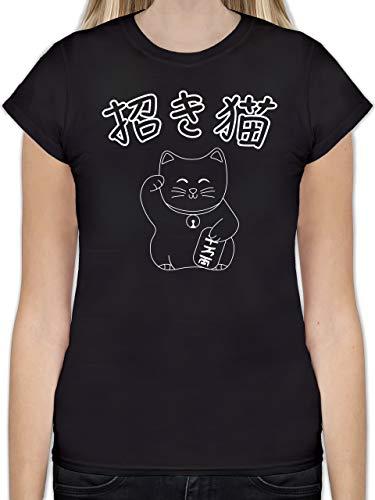 Katzen - Winkekatze- Japanisch - M - Schwarz - L191 - Tailliertes Tshirt für Damen und Frauen T-Shirt
