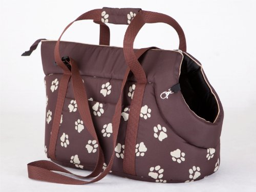Hobbydog Transport Bag for Dogs and Cats, Size 1, Brown with Paws Print