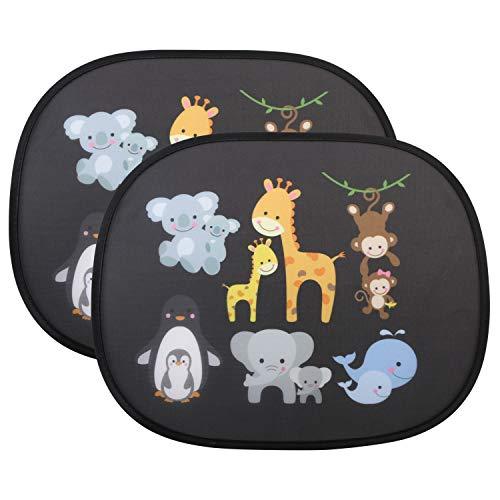 URAQT Parasol de Coche Infantil con Protección UV, 2Pcs Parasol Coche Infantil Lateral, Autoadhesivo, para Proteger del Sol a Bebés y Mascotas, Parasol Coche Bebé de Animales de Safari, Animal