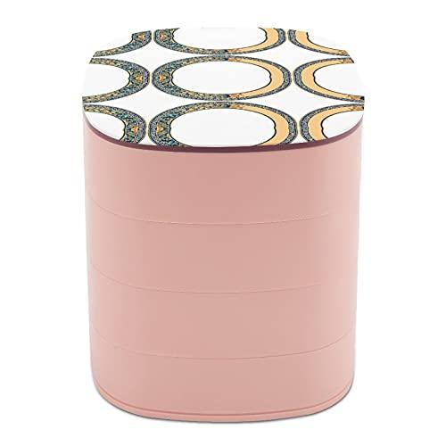 Rotate The Jewelry Box Print Arte clásico Elementos étnicos Diseño de múltiples capas caja organizadora de joyas con espejo para mujeres niñas y niños