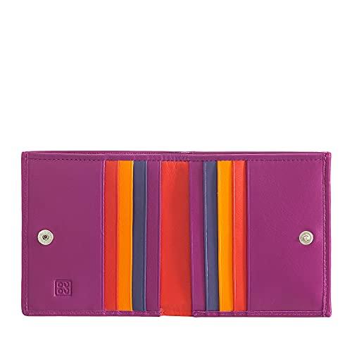 DUDU Portafoglio RFID di pelle multicolore porta carte e monete Fucsia