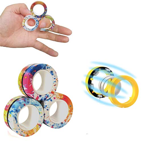 LENDOO Stress Relief Magnetic Rings - Fidgeting Game for Anxiety Relief Focus Decompression - Finger Fidget Toys - Magic Mini Finger Hand Spinner Gadget Rings - Funny Novelty Gifts (CamouflageMIX)