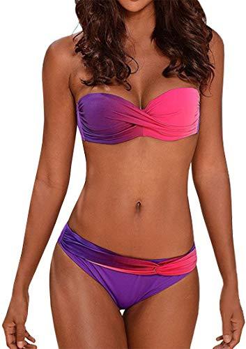 PANOZON Mujer Bikini Traje de Baño Sexy Cuello Halter Acolchado Conjunto Pushup Braga 2 Piezas (L, Rosa Rojo)