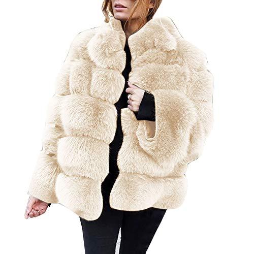 Mujer Lujo Invierno Abrigo cárdigan con Capucha de Piel sintética Peluda Chaquetas Gruesas y cálidas Parka Tallas Grandes Anorak Blanco 3XL