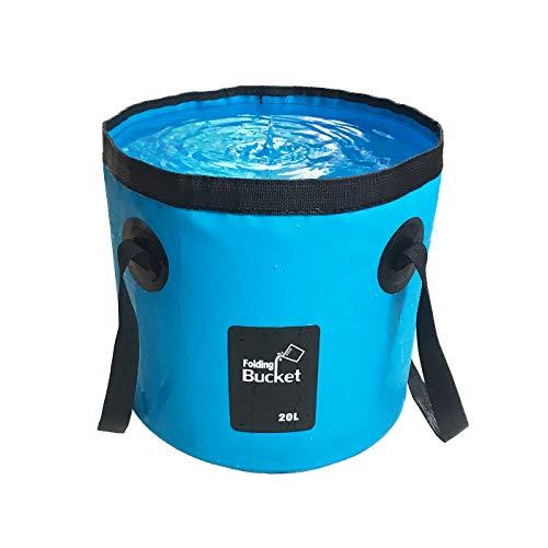 MMSGA Cubo Plegable, 12L y 20L Cubo de Pesca Plegable Portátil Multifuncional - Cubo Plegable para Lavabo - Contenedor de Agua para Pesca-Camping-Jardinería (20L / Azul)