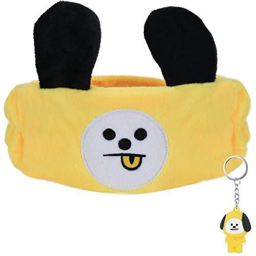 Shinpro Hair Band Headband BTS Bangtan Boys Face Wash Moisture Wicking Quick Dry Hair Band Cute for Travel Lunch Break Rest Yellow