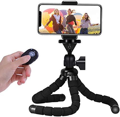 Handy Stativ, Mini Flexible Octopus Smartphone Reise Stativ, Handy Halter Halterung für Kamera, iPhone, Sumsung mit Bluetooth Fernsteuerung (7,50 Zoll)