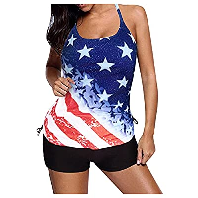 Tankini Swimsuits for Women Two Piece Bathing Suits Floral Print Tank Top with Boyshorts Tummy Control Swimming Suits