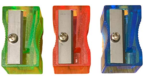 Pencil Crayon Sharpeners Manual for Kids Students Home School Office Set of 3 Colors Vary