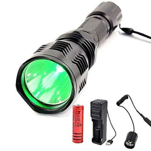 Linterna de Caza Verde, Linterna Táctica LED de Luz Verde de 500 Lúmenes, Antorcha Luz de Caza de Cerdo Coyote de 300 Yardas con Interruptor de Presión, Batería y Cargador