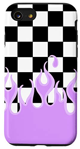 iPhone SE (2020) / 7 / 8 Lavender Flames Checkerboard Y2K Aesthetic E-Girl 90's Case
