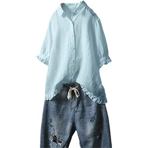 Blusa de Manga Corta de algodn y Lino de Verano para Mujer Camisa con Volantes Informal de Color slido de Gran tamao XL