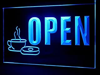 Open Coffee Cafe Donut Shop Led Light Sign