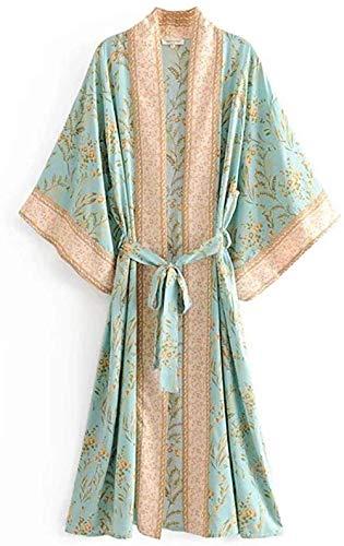 Seamido Sommer Lang Kimono Damen Boho Chiffon Stil Gedruckt Tops Jacke Cardigan Blusen Beachwear Cover Up (Grün c, Large)