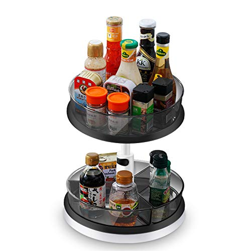 Asojoy 2-Tier Non Skid Lazy Susan Adjutable Height Up To 14.6'' 11.42'' Dia Base Tutntable Cabinet Organizer With Bins For Kitchen Pantry Snack Fruit Makeup Storage (Lasy Susan with Grey Bins)