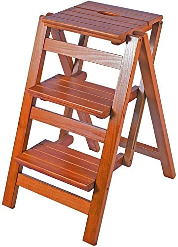 DNSJB - Taburete de escalera de madera maciza para el hogar, multifuncional, plegable, escalera de tres escalones, escalera, escalera, escalera, escalera de madera (color: color nogal claro)