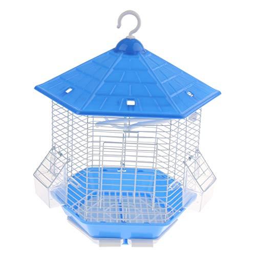 perfk Vogelkäfig Vogelbauer Vogelhaus Papageienkäfig Wellensittichkäfig Kanarienkäfig mit Sitzstange, Schaukel, Fressnapf - Blau