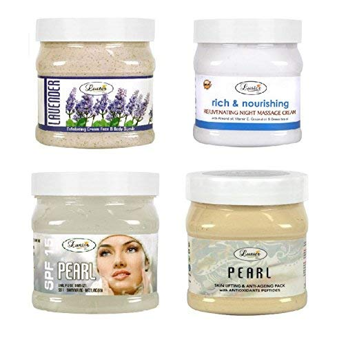 Luster Customised Facial Kit | Lavender Scrub | Rich & Nourishing Cream | SPF 15 Pearl Gel | Pearl Skin Lifting & Anti-Aging Face Pack (Paraben & Sulfate Free) - 500 ml (Pack of 4)