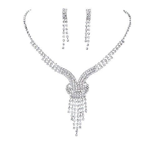 Yazilind glänzender klar Kristall Versilbert Brautschmuck Sets Y-Form Halskette und Ohrringe