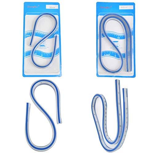 WOWOSS 2 Stück Flexibles Kunststoff Kurvenlineal Maß Werkzeug für Das Zeichnen von Mal Grafiken Und Von Kleiderdesign (30CM+60CM)