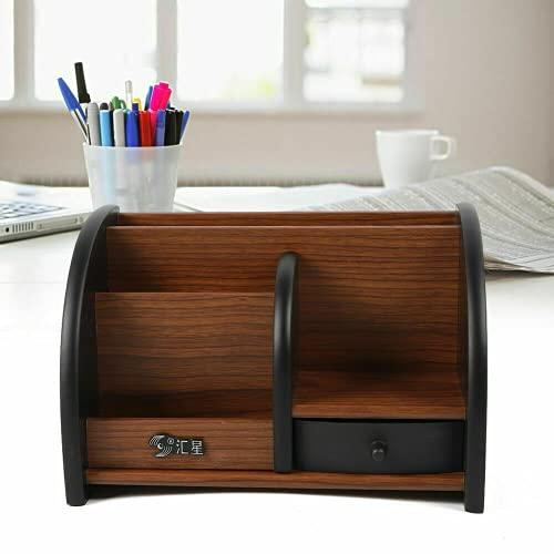 Organizador de escritorio de madera, con cajón, soporte para bolígrafos, organizador de escritorio, ahorra espacio, 20 x 11,8 x 13,5 cm