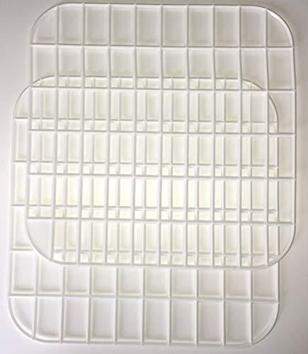Spülbeckeneinlage in Weiß eckig 2 er Set 295x295mm Spülbeckenmatte Spülmatte Abtropfmatte Kühlschrankeinlage Matte Antirutschmatte