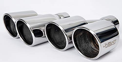 "Jinsanity Performance Dual Exhaust Tip 2.5 Inch Inlet 3.5""x2 Outlet 10"" Length Stainless Polished.(Double rolled, angle,welding) - 1 pair(Left and Right)"