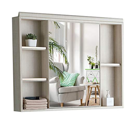 Armoire de Toilette Armoire de Rangement Murale Miroir de courtoisie en Aluminium Armoire à Pharmacie Multicouche Encastré ou Montage en Surface (Color : Blanc, Size : 90 * 11.5 * 70cm)