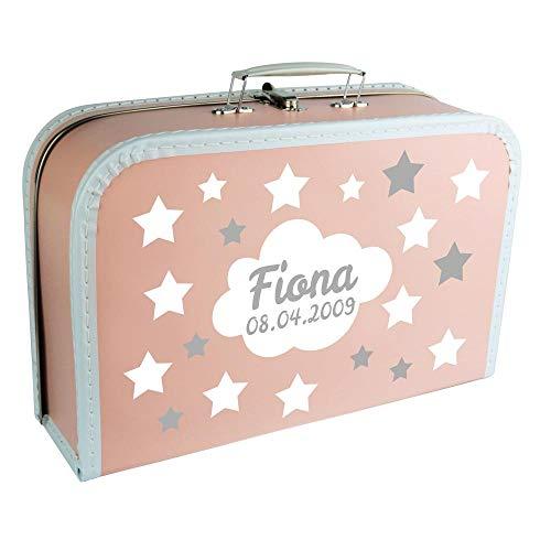 Baby Erinnerungsbox Koffer personalisiert mit Namen und Geburtsdatum Modell Sternenhimmel rosa