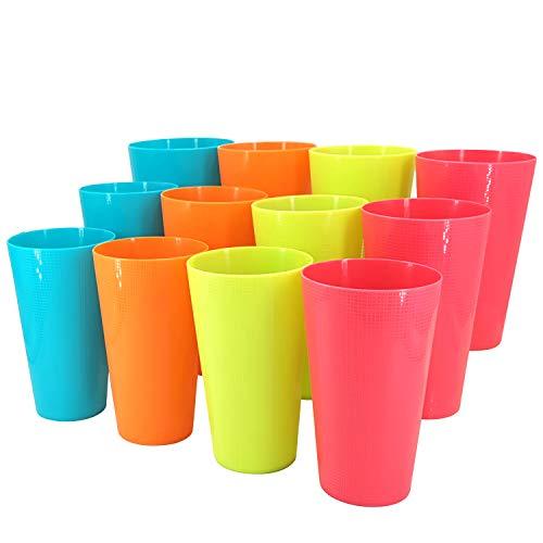 Bicchieri in plastica per bevande, succo di frutta, colorati, infrangibili, senza BPA, set di 12 bicchieri misti, Multi, 22 oz
