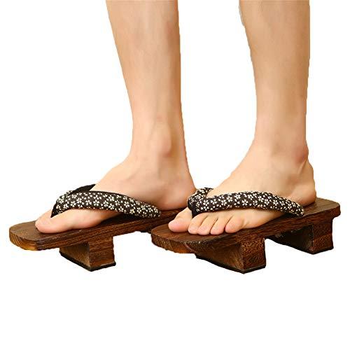 XPuing Herren Stage Performance Geta Japanische Holz-Hausschuhe Clogs Flip Flops Sandalen Schuhe Gr. 52, Black Flower