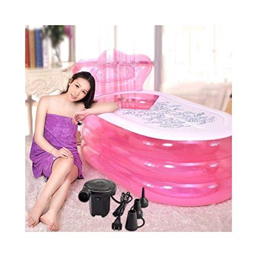 Aufblasbarer Pool aufblasbare Badewanne verdicken Badewanne Falten Tragbarer Erwachsene Transparent Wannenbad Barrel mit elektrischer Luftpumpe Pool aufblasbar (Farbe: B) DYWFN (Color : A)