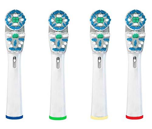 Testine di ricambio compatibile con spazzolino elettrico Oral-b Braun 4 ricambi con Testina DOPPIA