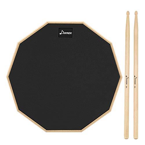 Donner Practice Pad Drum Übungspad 12 Zoll/30.48cm mit Drumsticks, Schwarz