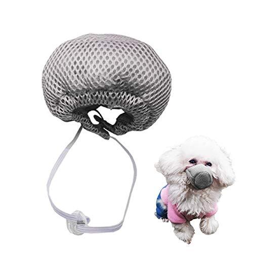 pawstrip Bozal para perros de malla transpirable para perros pequeños, medianos y grandes, bozal ajustable seguro con filtro para evitar ladridos y mordeduras (gris)