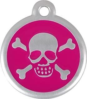 Red Dingo QR Collar Tag, Skull/Crossbones, Small, Hot Pink