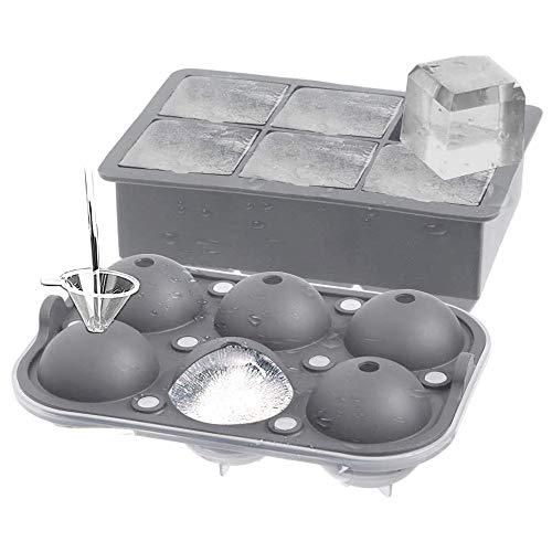 Liseng Juego de 2 bandejas para hacer bolas de hielo Sphere con tapa, para whisky/cócteles y casas, color gris