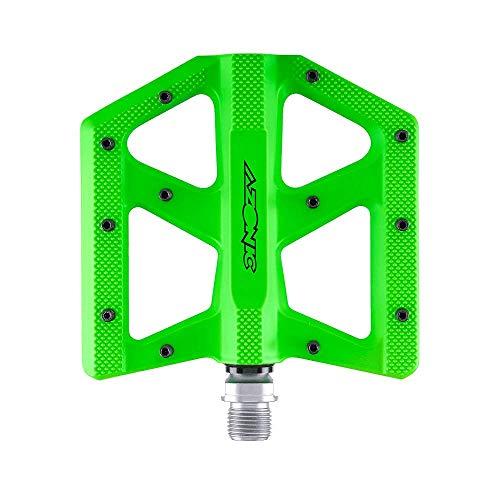 AZONIC | Pedali Bici | MTB Downhill Mountainbike BMX | Super Sottile Pedale in Alluminio pressofuso, Doppio Cuscinetto sigillato, CNC Lavorato 4130 Chromoly Axle | Kamikaze RL Pedale | Neon Green