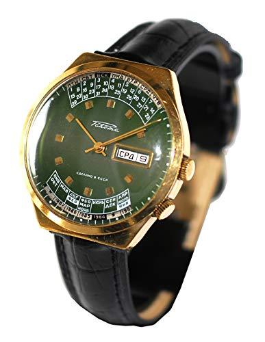 Reloj original Raketa de pulsera, fabricación Ex-Unión Soviética URSS CCCP, calendario perpetuo, serie numerada, color verde, días de la semana y meses en cerezo