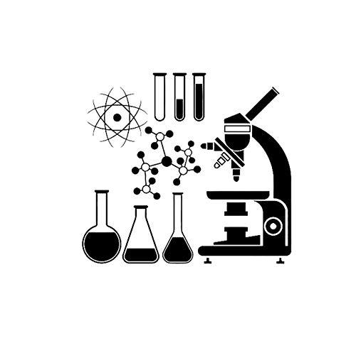 Mikroskop Wissenschaftler Vinyl Wandaufkleber Chemie Abziehbilder Labor Wasserdicht Wandbild Dekor Jungen Mädchen Zimmer Klassenzimmer 61x56 cm