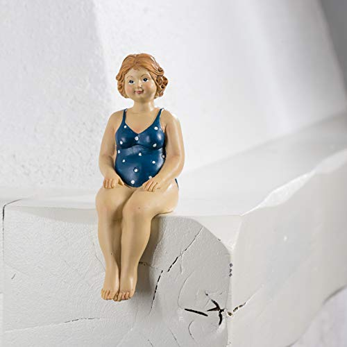 Mini Badefigur mollige Linda in dunkelblauem Badeanzug 50er/60er Jahre, 17cm